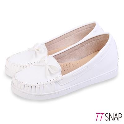 TTSNAP莫卡辛-MIT蝴蝶結隱形內增高休閒鞋 白