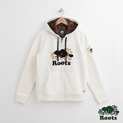 Roots 男裝-周年系列 庫柏楓葉毛毛連帽外套-白