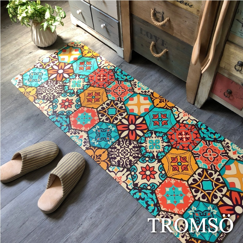 TROMSO 廚房防油皮革地墊-K325六角橘藍花磚
