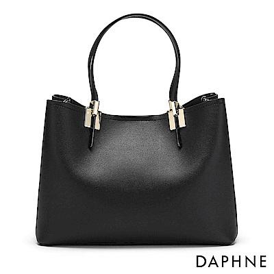達芙妮DAPHNE-金屬飾片手提托特大方包-黑