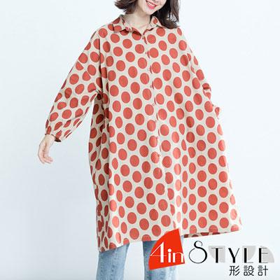 翻領滿版圓點泡泡袖寬版襯衫 (共二色)-4inSTYLE形設計