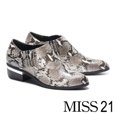 高跟鞋 MISS 21 率性時髦蛇紋皮革尖頭粗高跟鞋-蛇紋