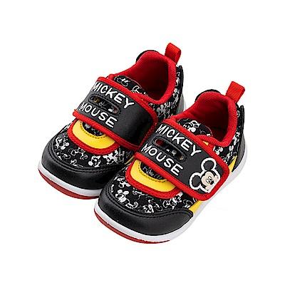 迪士尼童鞋 90周年限定款 米奇 滿版魔鬼氈運動鞋-黑