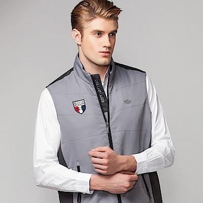 歐洲貴族oillio 休閒背心 品排刺繡 特色拉鍊設計 灰色