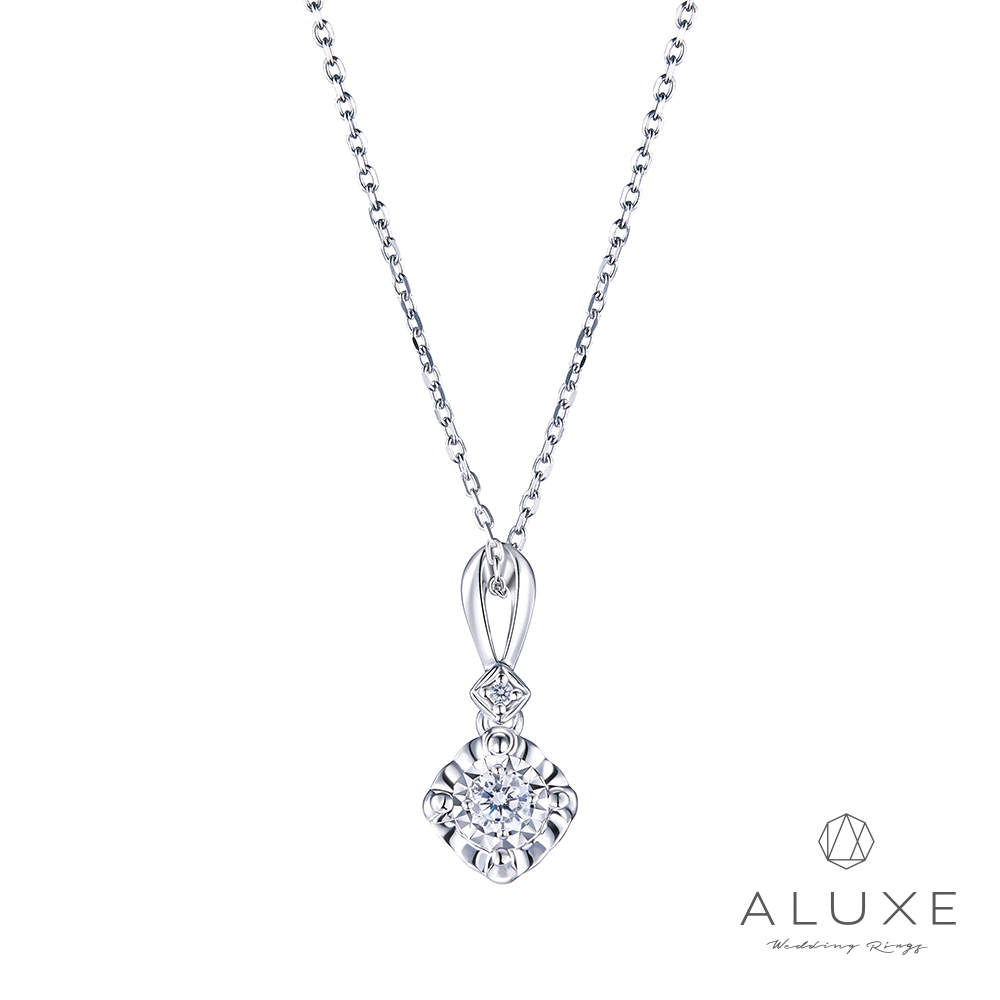 ALUXE 亞立詩 18K金 0.10克拉雙倍顯鑽鑽石項鍊
