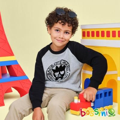 bossini男童-酷企鵝圖案牛角袖厚棉T恤灰