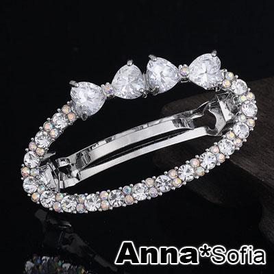 【2件7折】AnnaSofia 透曜晶鏤圈 純手工髮夾(雙巧結銀系)