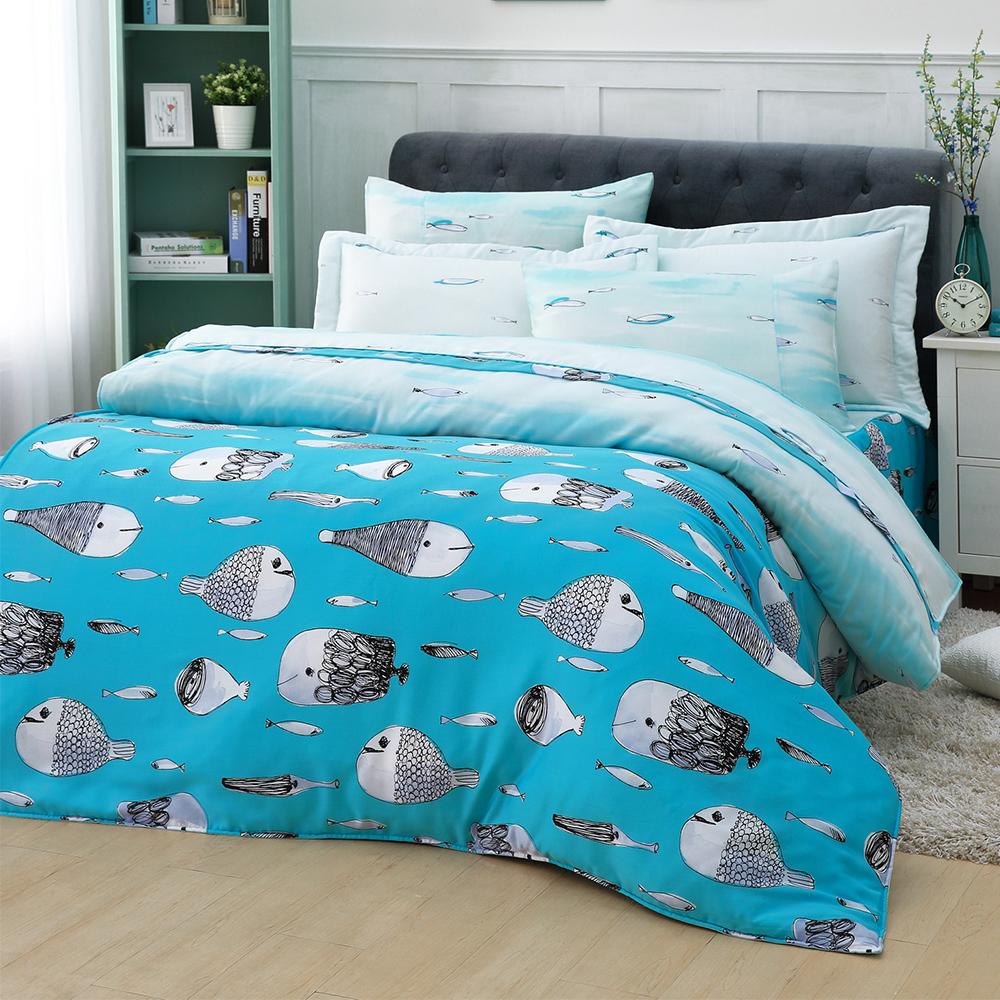 LASOL睡眠屋-40支/100%奧地利天絲 加大兩用被床罩六件組 海之聲