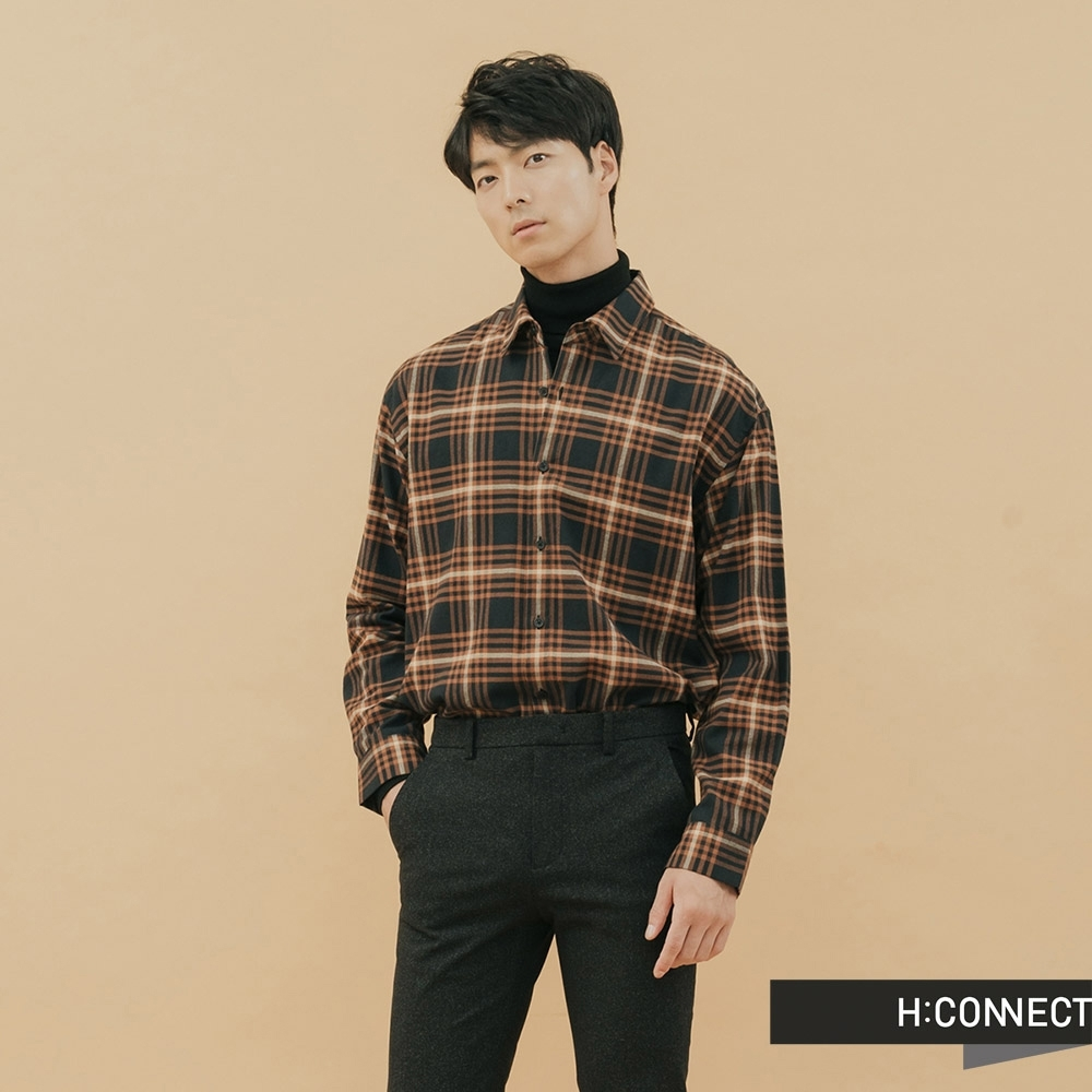 H:CONNECT 韓國品牌 男裝-亮彩格紋襯衫-藍(快)