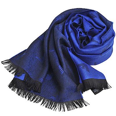 EMPORIO ARMANI 義大利製字母老鷹LOGO圖騰高質感羊毛圍巾(藍色系)