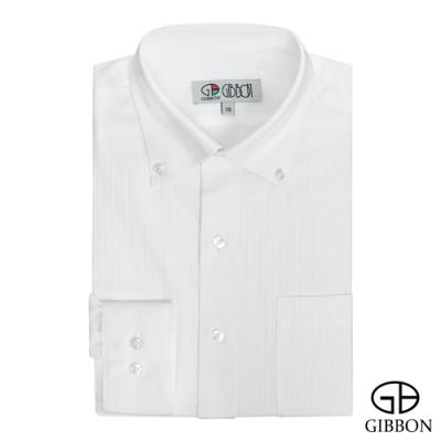 GIBBON 嚴選商務條紋長袖襯衫‧白色