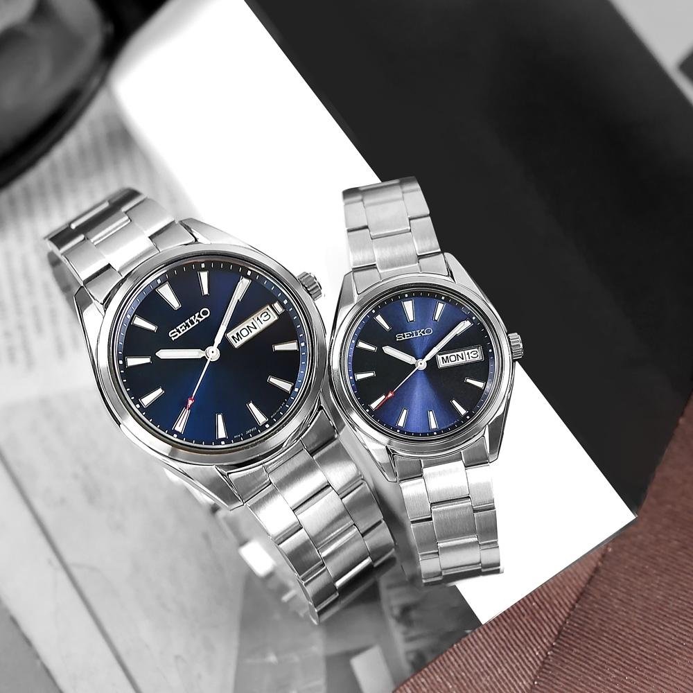 SEIKO 精工 簡約時尚 日期 不鏽鋼手錶 情人對錶-藍色/40mm+36mm