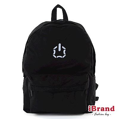 iBrand後背包 簡約素色輕旅行多功能後背包(大)-黑色