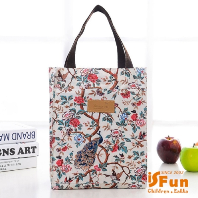 iSFun 防水印花 加大長型手提便當購物袋 鳥語花香