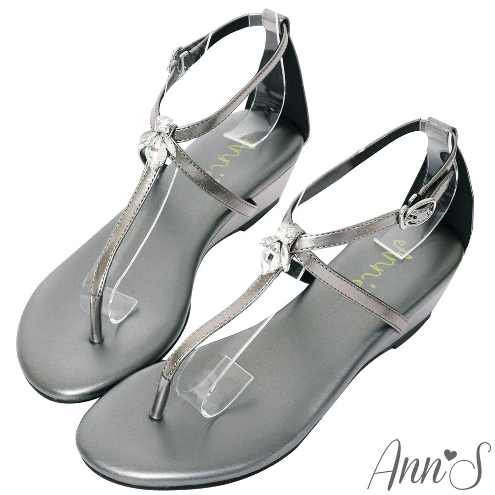 Ann'S花田小蜜蜂-水滴鑽飾T字交叉顯瘦小坡跟涼鞋-銀灰