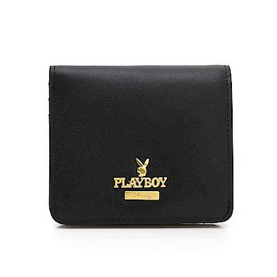 PLAYBOY-卡片短夾-時尚黑