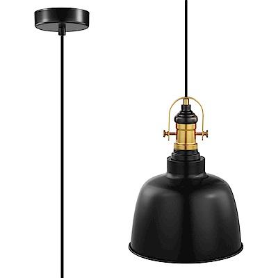 EGLO歐風燈飾 工業風霧黑雙色燈罩式吊燈(不含燈泡)
