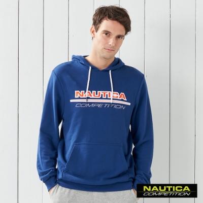 Nautica COMPETITION撞色LOGO連帽長袖T恤-藍色