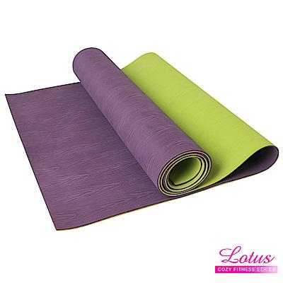 瑜珈墊 福利品 台灣製耐磨防滑木紋天然橡膠4mm瑜珈墊-薰衣草紫 LOTUS