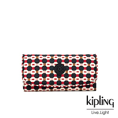 Kipling 節慶感紅黑幾何圖騰掀蓋長夾-SUPERMONEY