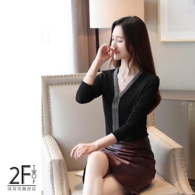 2F韓衣-韓系流蘇網紗造型上衣-黑色-F