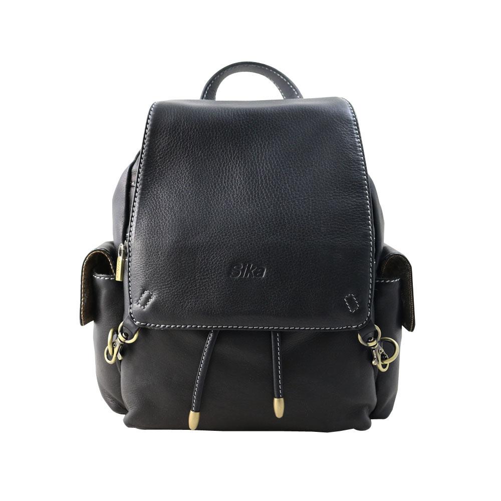 Sika義大利牛皮小後背包L6171-03黑色