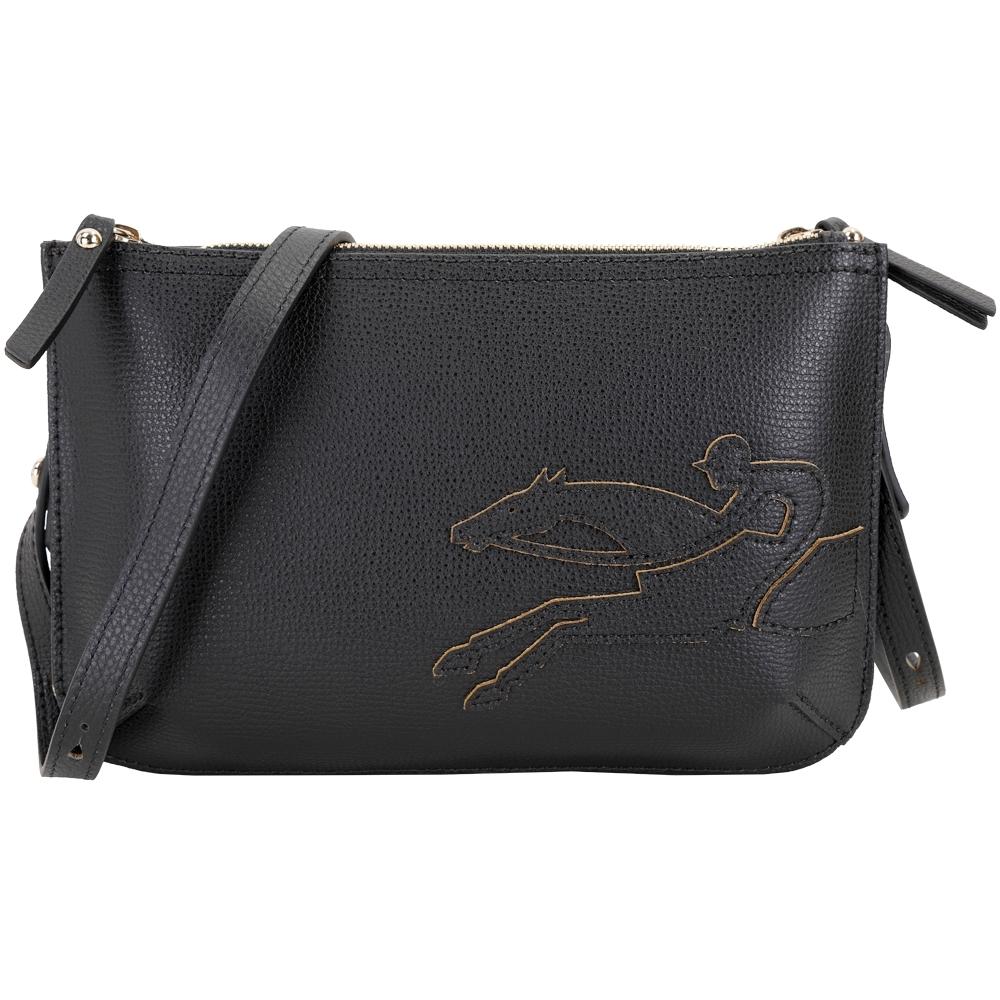 LONGCHAMP SHOP-IT 經典奔馬騎士雙層牛皮斜背包(黑色)