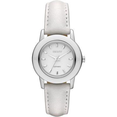 DKNY 純白魅力皮革腕錶(NY8638)-白/30mm