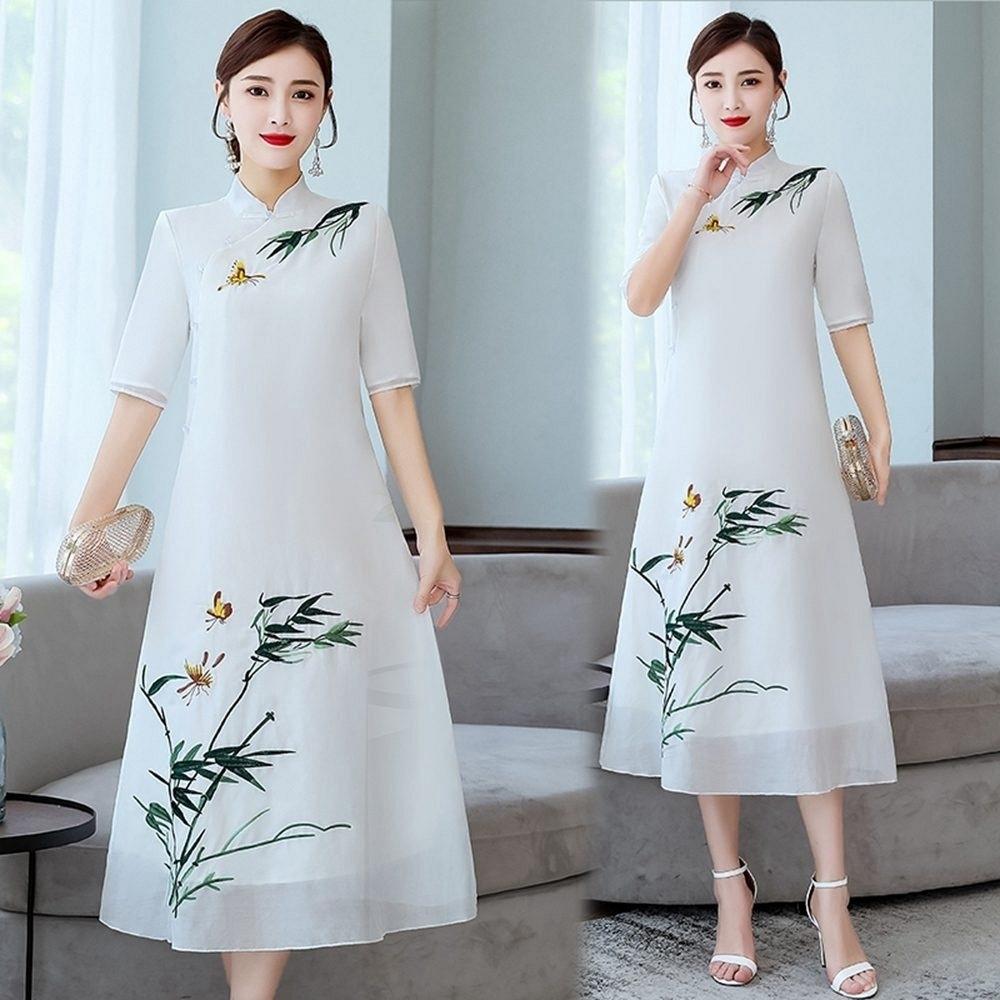 文藝復古盤扣刺繡改良式旗袍洋裝S-3XL-REKO