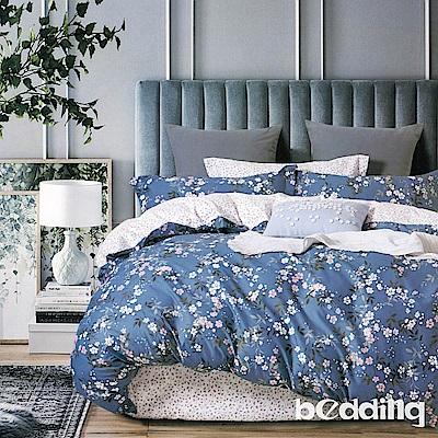 BEDDING-100%棉6尺加大雙人薄式床包三件組-晨曦花語-藍