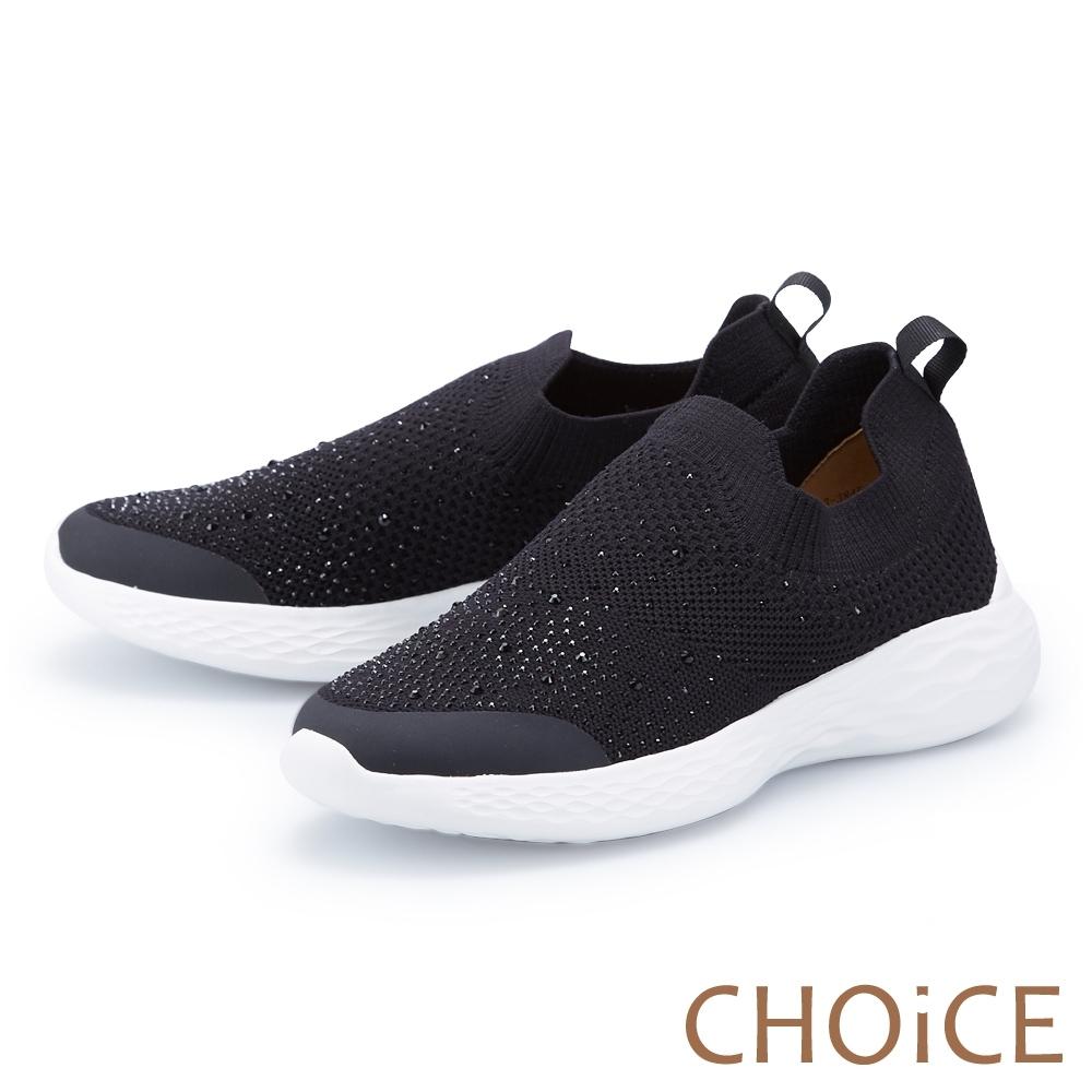 CHOiCE 水鑽編織布面厚底 女 休閒鞋 黑色