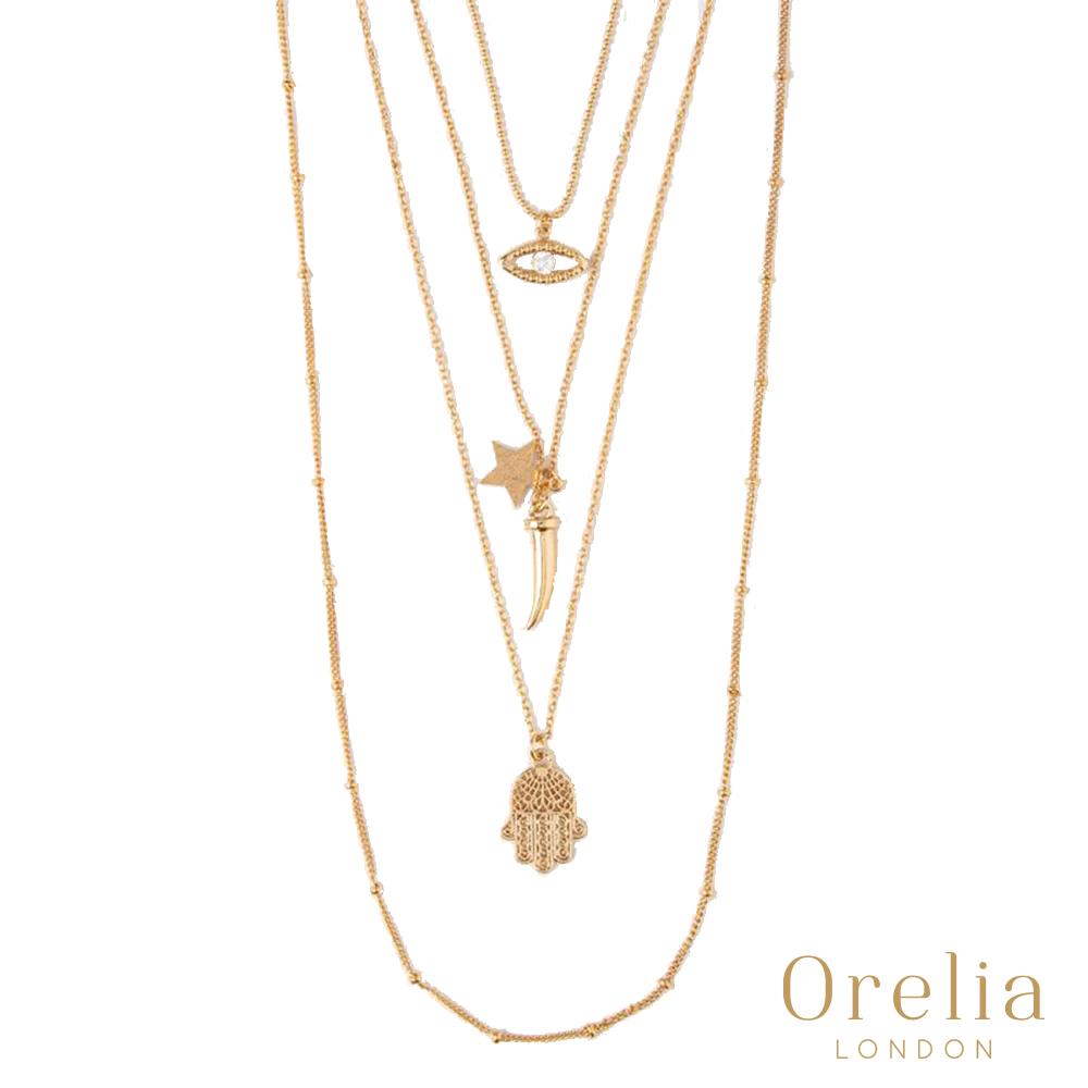 Orelia 英國倫敦 多層魅力18K鍍金項鍊 (雙眸、號角、閃星、法蒂瑪之手)