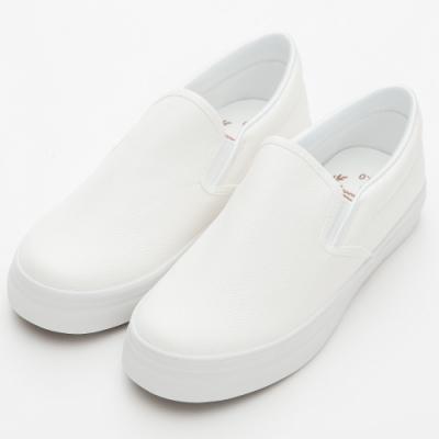 River&Moon休閒鞋 MIT軟Q素面厚底懶人鞋 白