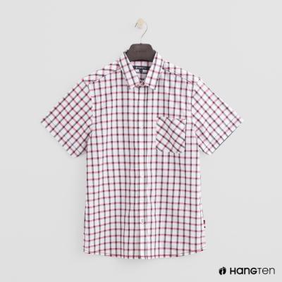Hang Ten-男裝-簡約格紋棉質短袖襯衫-白