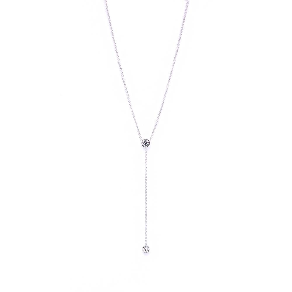 LOVERS TEMPO加拿大品牌 DUET LARIAT垂墜造型鑲嵌水晶 銀色項鍊