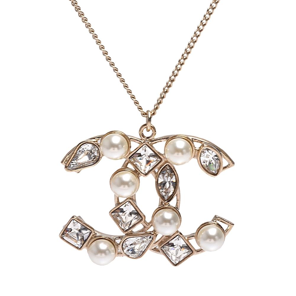 CHANEL 經典大雙C LOGO水鑽珍珠交錯鑲嵌造型項鍊(金)