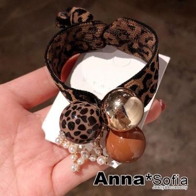 AnnaSofia 豹紋五角星三球 純手工彈性髮束髮圈髮繩(咖金球系)