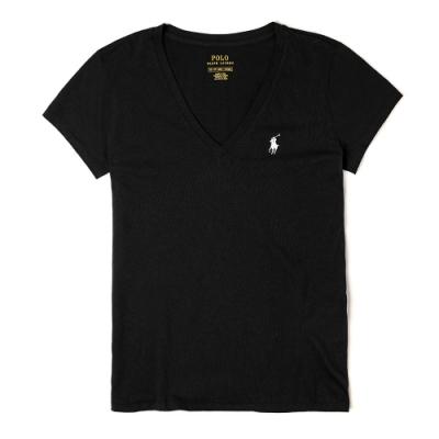 Polo Ralph Lauren 經典小馬V領素面短袖T恤(女)-黑色