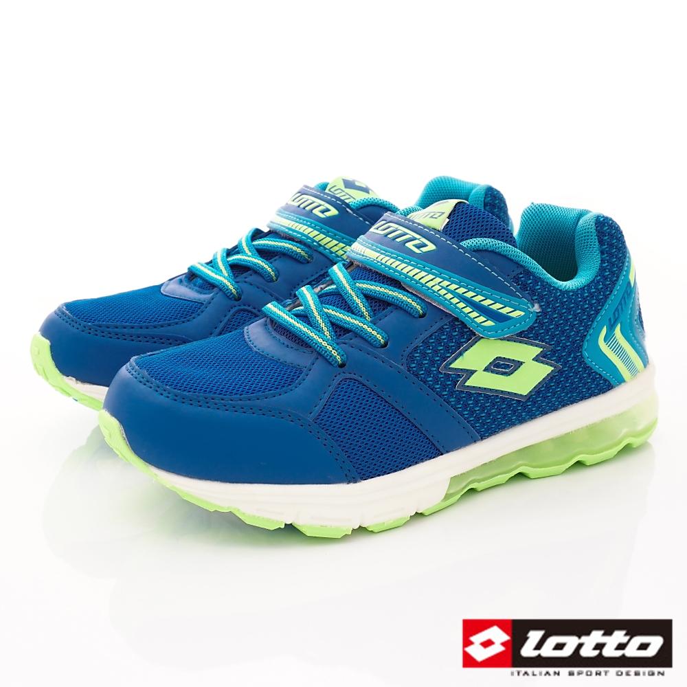 Lotto義大利運動鞋 氣墊夜光鞋款 FI806藍(中大童段)C