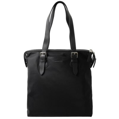 BURBERRY 金屬logo尼龍拉鍊直式購物包(黑)