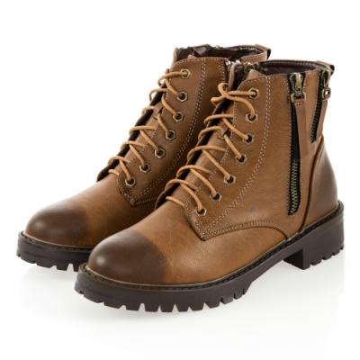 JMS-帥氣元素擦色綁帶拉鍊短靴-棕色