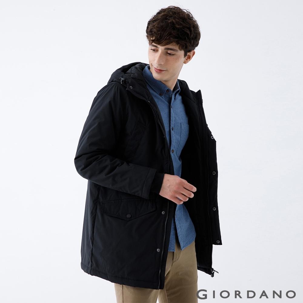 GIORDANO 男裝多口袋鋪棉連帽外套 - 09 標誌黑