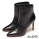 ALDO 原色一體成形真皮靴身內拉鍊尖頭細高跟靴~尊爵黑色