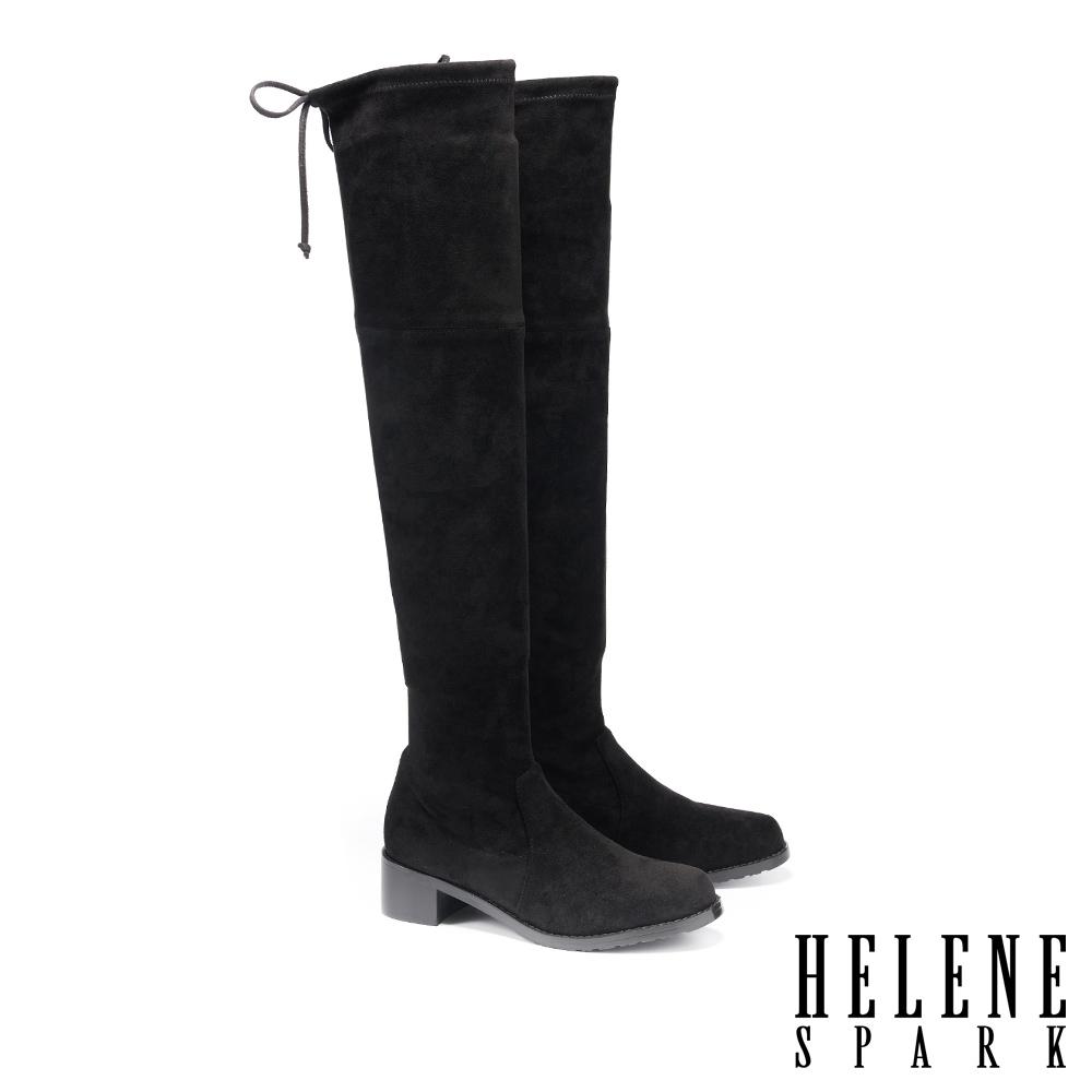 長靴 HELENE SPARK 極簡率性氣勢彈力絨布過膝襪靴-黑