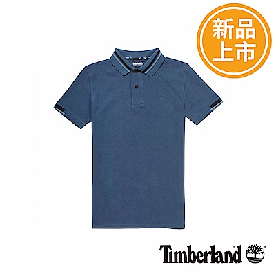 Timberland 男款深藍色條紋袖口短袖POLO衫