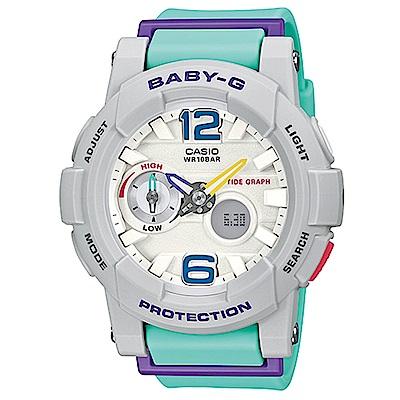 BABY-G 極限運動女孩衝浪板造型概念錶(BGA-180-3B)-水藍綠色x白面/44m