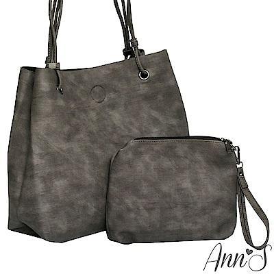 Ann'S訂製雲彩皮革肩背大容量托特包-棕(附手拿包)