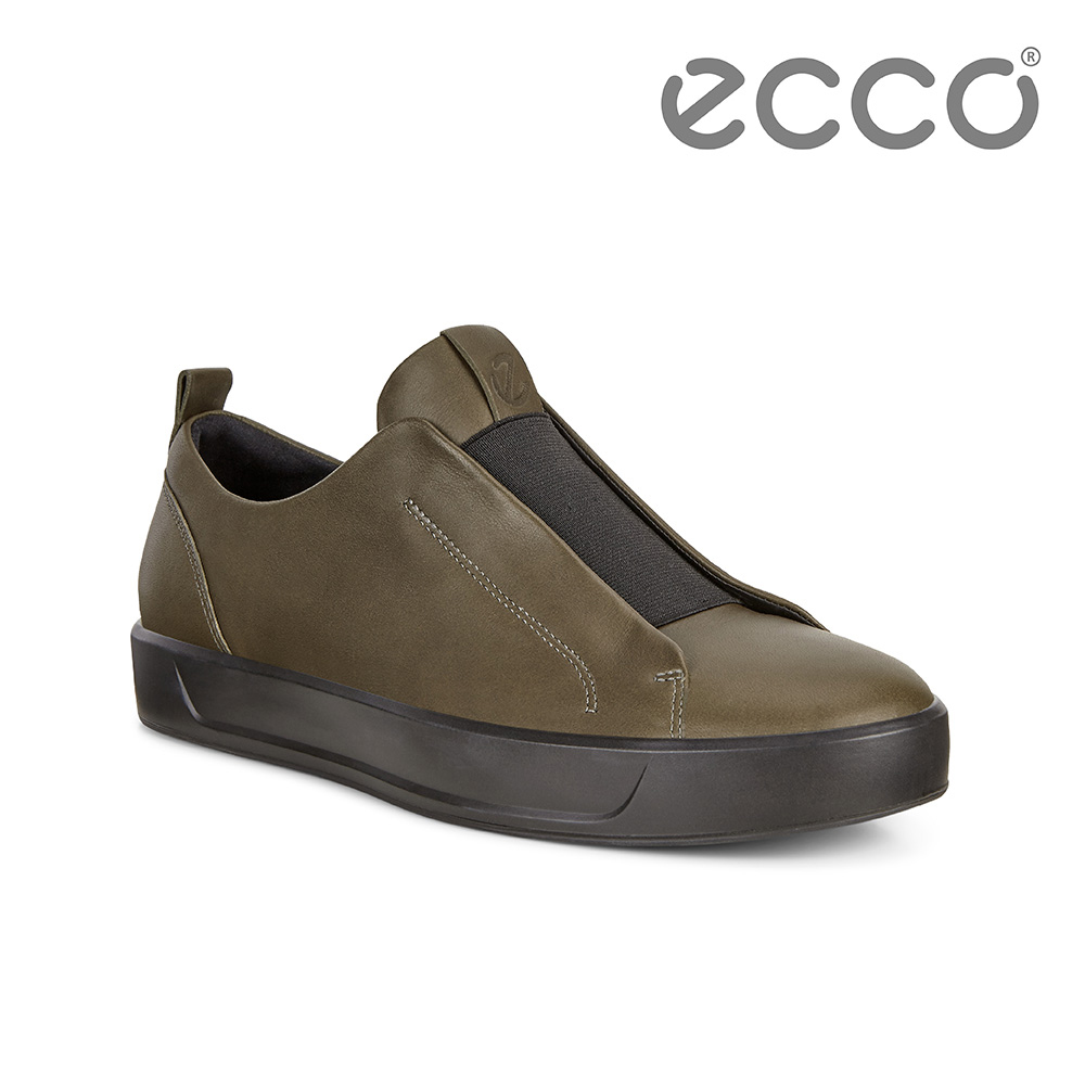 ECCO ECCO SOFT 8 M 撞色套入式休閒鞋 男-深綠色