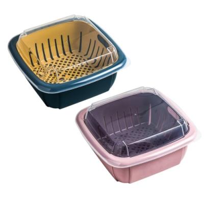 多功能雙層瀝水籃 廚房 冰箱 保鮮盒 蔬果 收納 清洗籃