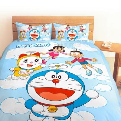 享夢城堡 雙人加大床包涼被四件組-哆啦A夢DORAEMON 飛向天空-藍